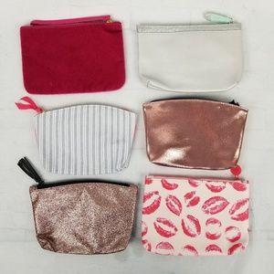 ipsy Bags - Ipsy 6 bag lot Pink Silver Kisses Stripes Glitter